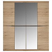 Summer 4 Door Wardrobe with 2 Mirror doors in oak
