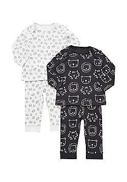 F&F 2 Pack of Animal Face Print Pyjamas - White