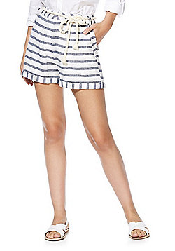 F&F Linen-Blend Striped Shorts with Rope Belt - Navy & White
