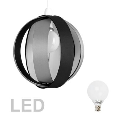 J90 Globe LED Ceiling Pendant Light Shade, Black & Grey & Décor Bulb