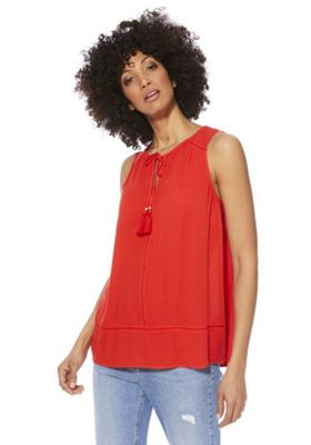F&F Keyhole Tassel Sleeveless Top Orange Red 16