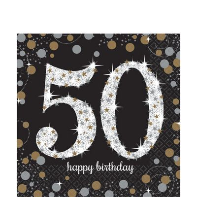 Sparkling Celebration Age 50 Lunch Napkins - 2ply Paper