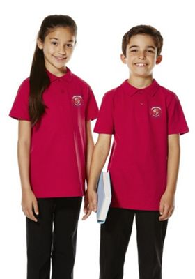 Unisex Embroidered School Polo Shirt 10-11 years Red