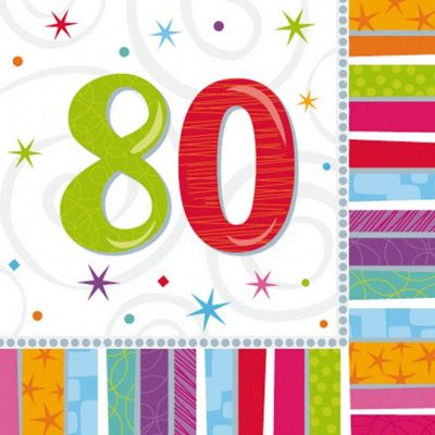 80th Birthday Radiant Luncheon Napkins - 2ply Paper - 16 Pack