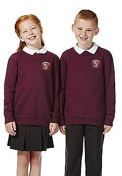 Unisex Embroidered Cotton Blend School Sweatshirt with As New Technology - Burgundy