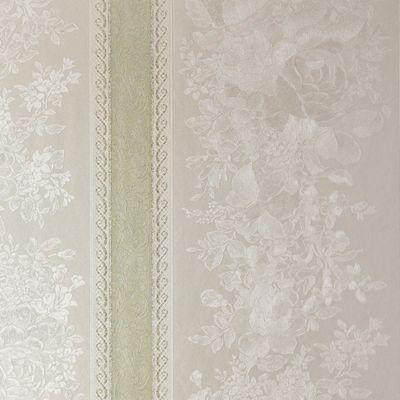 Superfresco Traditional Floral Stripe Green Shimmer Wallpaper