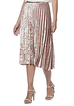 F&F Velvet Pleated Midi Skirt - Pink