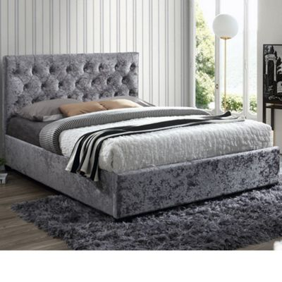 Happy Beds Cologne Crushed Velvet Fabric Low Foot End Bed with Memory Foam Mattress - Steel - 4ft6 Double