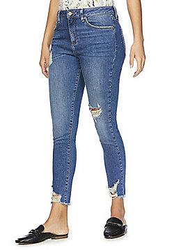 F&F Chewed Hem Mid Rise Skinny Jeans - Mid wash