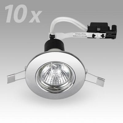 Pack of 10 GU10 Downlights, Chrome