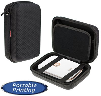 Navitech Black Handheld Pocket / Portable / Mobile Printer Carrying Case for the HP Sprocket Photo Printer