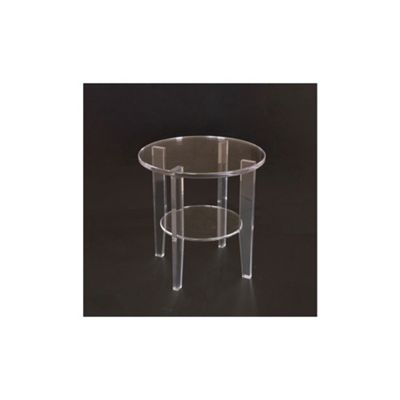 Modern Perspex Clear Acrylic Round 2 Tier Coffee Tea Side End Table with Shelf