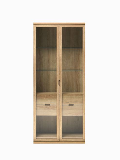 Caxton Darwin Tall Display Cabinet in Chestnut