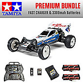 TAMIYA Neo Fighter 2WD Buggy RC Car Premium Bundle 2x Battery Fast Chrgr 58587