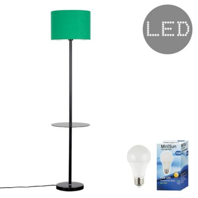 Steward Single Stem LED Floor Lamp with Coffee Table - Black & Green