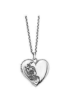 Silver Oxidised Flower Heart Locket