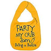 Dirty Fingers, Party my Crib 2am, Baby Feeding Bib in Yellow