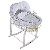 Grey Barley Print Moses Basket, White Wicker