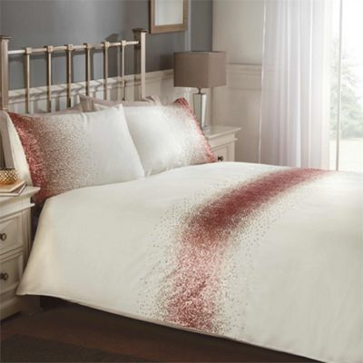 Shimmer duvet cover and pillowcase set - blush - double