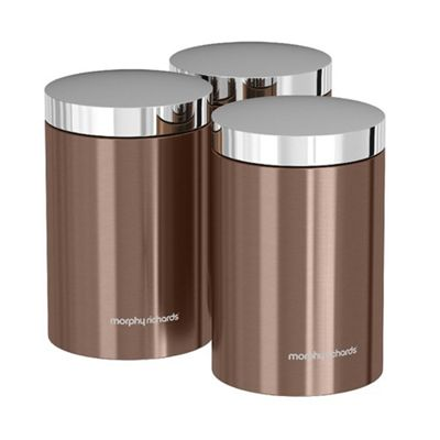 Morphy Richards Accents Set of 3 Canisters - Copper