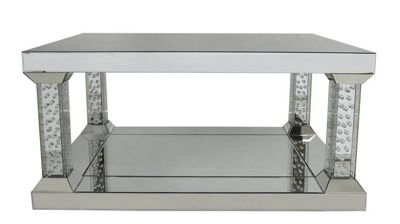 Large Pillar Mirrored Coffee Table