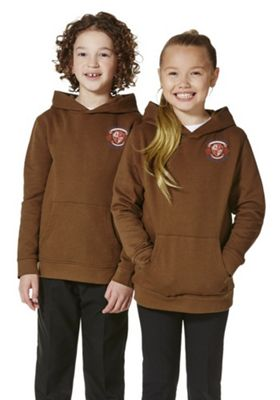 Unisex Embroidered School Hoodie with As New Technology 5-6 years Brown