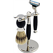 Nicholas Winter 3 Piece Black / Silver Shaving Set In Stand. Mach 3 Compatible