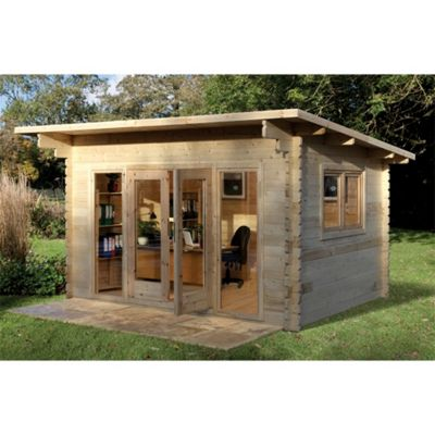 4.0m x 3.0m Stylish Log Cabin With Glazed Double Doors - 44mm Wall Thickness