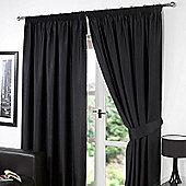 "Dreamscene Pair Thermal Blackout Pencil Pleat Curtains, Black - 66"" x 90"" (167x228cm)"