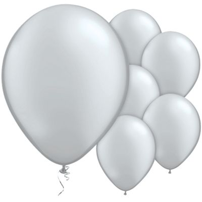 Silver Metallic 11 inch Latex Balloons - 25 Pack