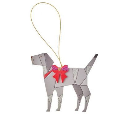 Grey Wooden Dog Christmas Tree Decoration