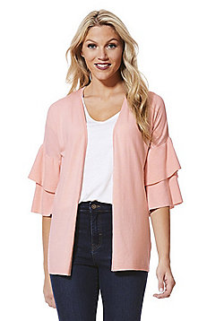 F&F Double Frill Open Front Cardigan with As New Technology - Pale pink