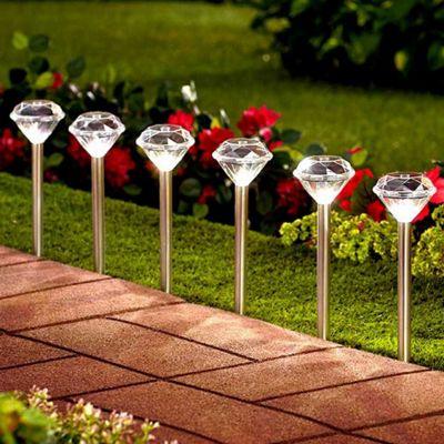 Solalite 10 Pack Stainless Steel Solar Diamond Stake Lights LED Garden Lanterns