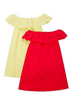 F&F 2 Pack of Bardot Dresses - Yellow/Pink