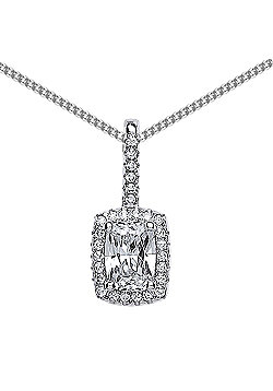 Rhodium Plated Sterling Silver Emerald Cut Cubic Zirconia Drop Pendant Necklace 18 inch