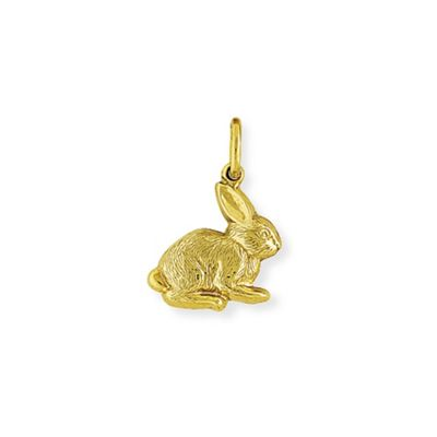 9ct Gold Fur Textured Bunny Rabbit Hollow Charm Pendant 15 x 23mm