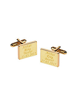 Personalised Ring Bearer Gold Plated Rectangle Wedding Cufflinks