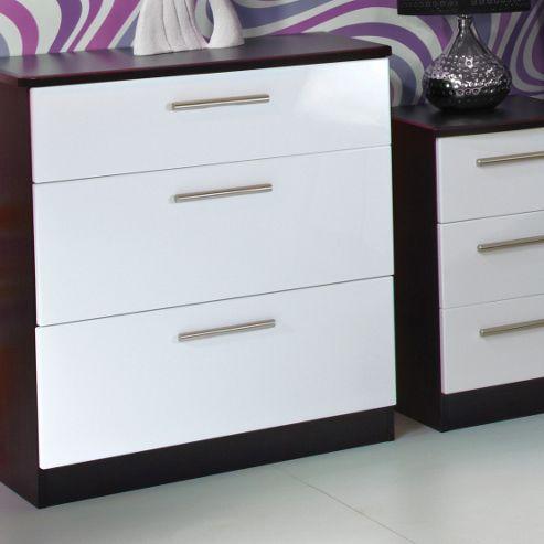 Welcome Furniture Knightsbridge 3 Drawer Deep Chest - Black - Aubergine