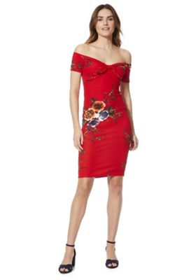 AX Paris Floral Print Bunny Bow Bardot Dress Red 12