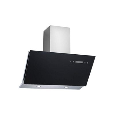 electriQ 90cm Sloping Black Glass Touch Control