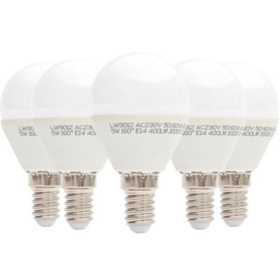 Liteway LW9012/5PACK 5 W SES E14 Golfball LED Bulb, 40 W Traditional Replacement, 400 Lumens - Warm White, Pack of 5 [Energy Class A+]