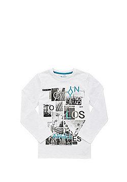 F&F Polaroid Collage Slogan Long Sleeve T-Shirt - White