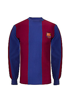 FC Barcelona Mens 1974 1979 Retro Shirt - Claret & Blue