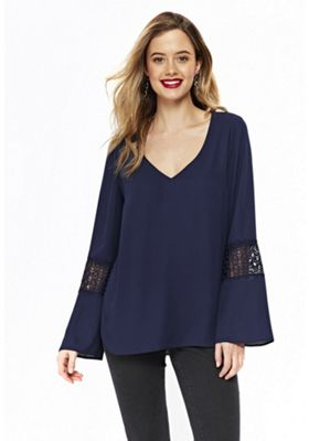 Wallis Crochet Insert Flute Sleeve Top Navy 10