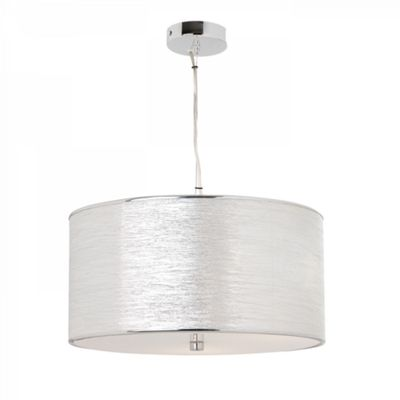 Silver Lame Effect Fabric & Frosted Acrylic 3lt Pendant 60W