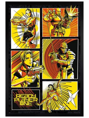 Ready Player One Black Wooden Framed Comic Panels Poster 61x91.5cm