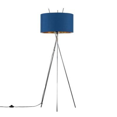Crawford Chrome Tripod Floor Lamp - Chrome & Blue