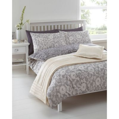 Linea Modern Lace Double Duvet Cover In Grey New