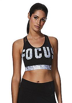 F&F Active Focus Slogan Sports Crop Top - Black