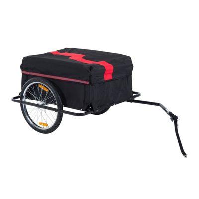 Homcom Folding Bike Trailer Cargo in Steel Frame Storage Carrier (Red and Black)